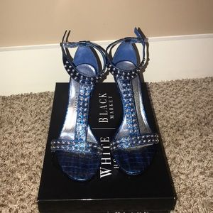 WHBM Blue wedges with silver studs